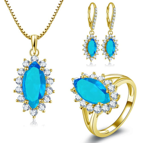 Treasure Jewelry® 10K Solid Yellow Gold Jewelry Sets Luxurious Wedding Women