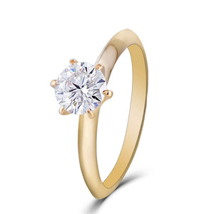 Treasure Jewelry® 14K Yellow Gold 1ct carat 6.5mm F Color Moissanite Diamond Engagement Ring