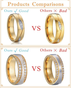Treasure Jewelry® Gold plating men & women wedding engagement ring set in titanium stainless steel