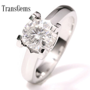 Treasure Jewelry® Solitare Engagement Ring 14k White Gold 1 carat 6.5mm F Color Moissanite Women
