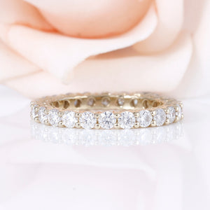 Treasure Jewelry® 10K Yelllow Gold Eternity rings Wedding Band for Women 2.5mm Moissanite F Color