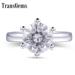 Treasure Jewelry® Classic Moissanite Engagement Ring Center 1ct 2ct 3ct 4ct F Color Solid 14K White Gold