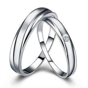 Treasure Jewelry® Pair 0.01 Ct certified diamond PT950  wedding bands for women ring and men ring Q00534AB