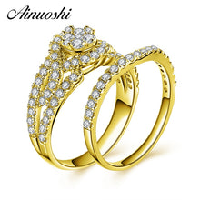 Treasure Jewelry® 10k Solid Yellow Gold Bridal Ring Set Diamond Famale Engagement Wedding