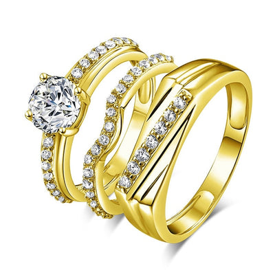 Treasure Jewelry® 7.6g Real Gold TRIO Rings Couple Ring Unique Engagement Wedding Rings