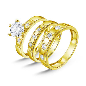 Treasure Jewelry® 7.1g Real Gold TRIO Rings Engagement 10K Gold Couple Wedding Rings