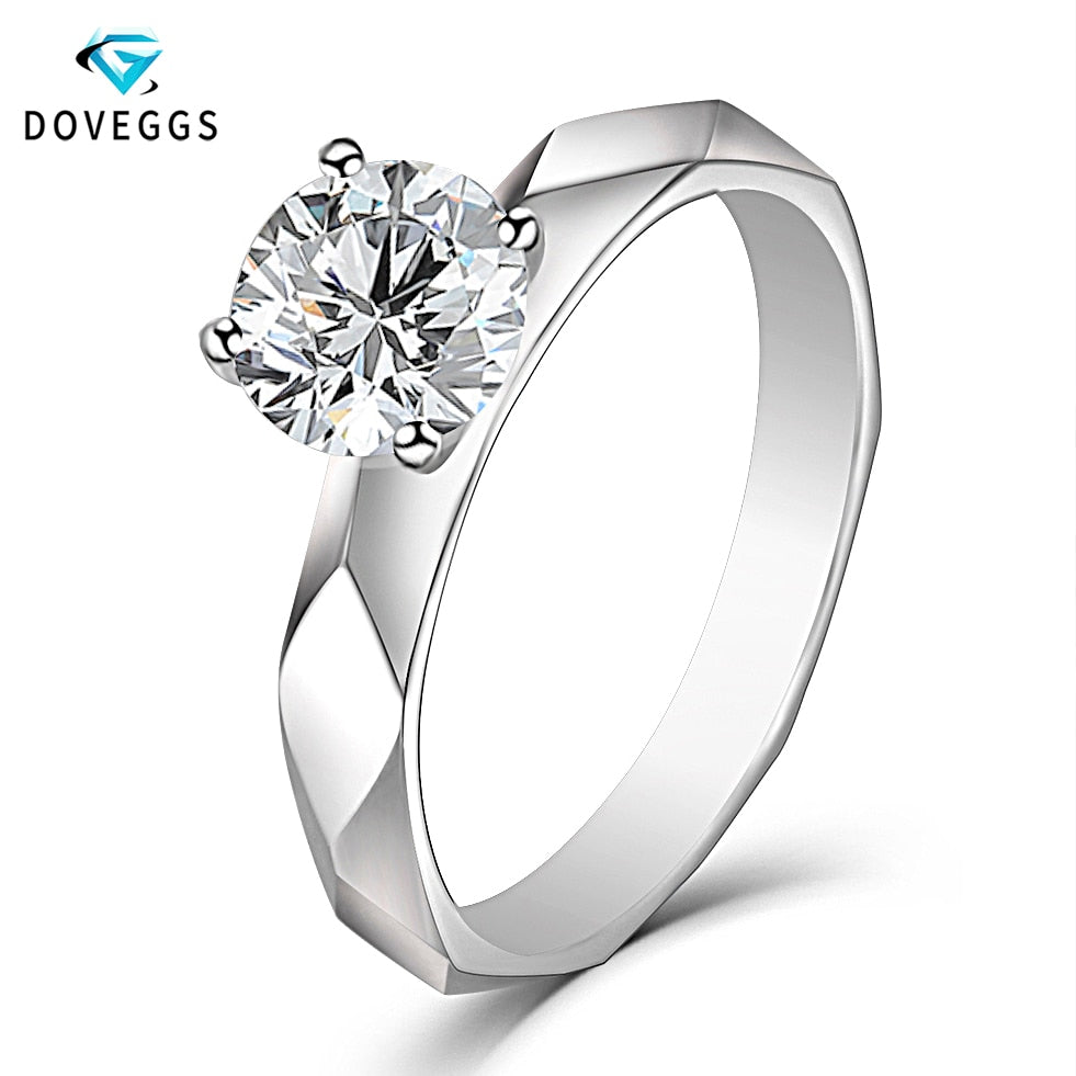 Treasure Jewelry® 14K 585 White Gold Solitaire Carat 6.5mm Moissanite Diamond Engage Women