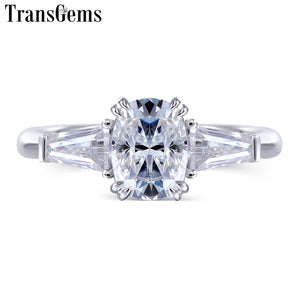 Treasure Jewelry® 10K White Gold 5*7mm Cushion Cut Captivating F Color Moissanite Engagement Ring