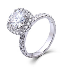Treasure Jewelry® 14K 585 White Gold Center 1.5ct Diameter 7.5mm F Color Round Moissanite Halo Engagement Wedding Ring Set for Women