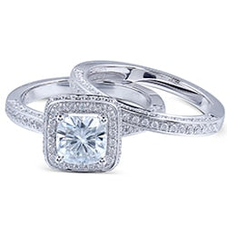 Treasure Jewelry® 14K White Gold 1 Carat FG Color Cushion Cut Moissanite Engagement rings Wedding Set