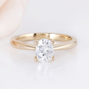 Treasure Jewelry® Yellow Gold 1 Carat 5X7mm F Color Oval Cut Moissanite Engagement Ring