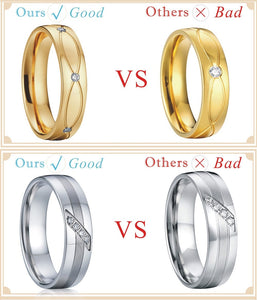 Treasure Jewelry® custom yellow Gold Plating health titanium Fashion jewelry  wedding bands Rings sets