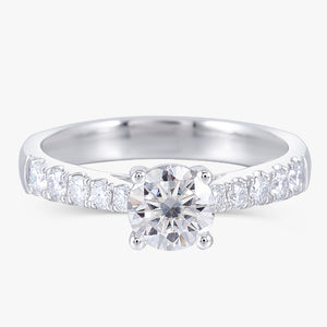 Treasure Jewelry® Solid 14K 585 White Gold 0.6ct 5.5mm F Color Moissanite Engagement Ring