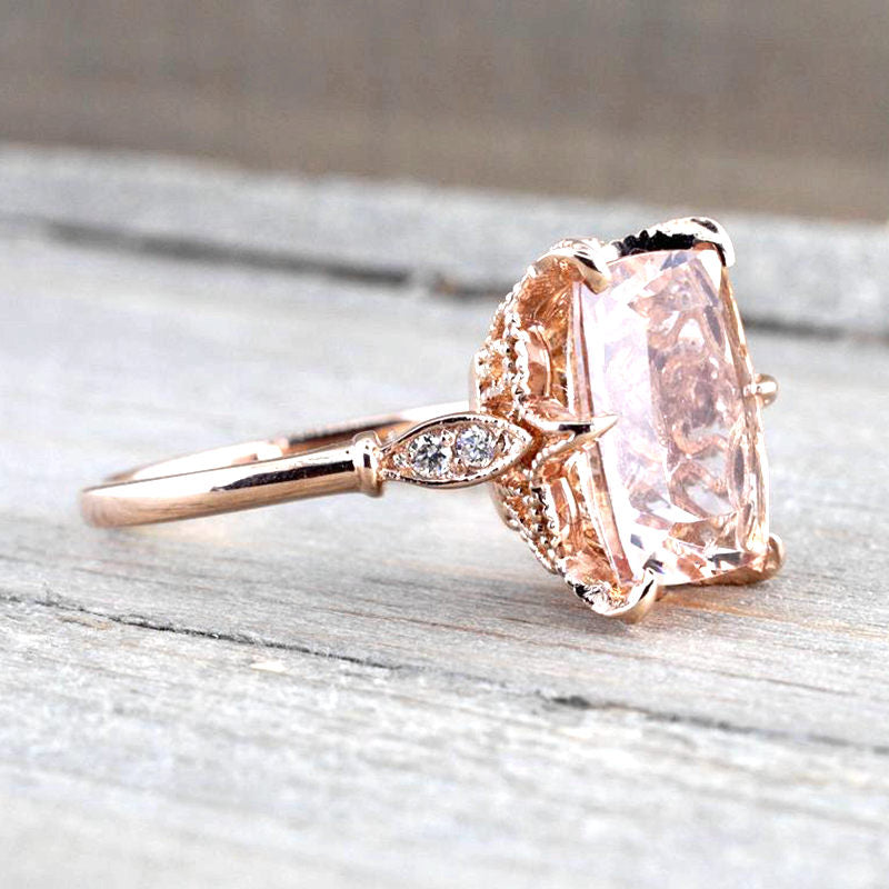 Treasure Jewelry® Nautral Morgante Engagement Ring Solid 14k Rose Gold Women Natural Diamonds