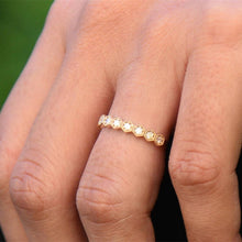 Treasure Jewelry® Round Cut 0.36CTW Natural Diamond 14k Gold Half Eternity Hexagon Honeycomb Vintage