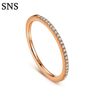 Treasure Jewelry® Eternity Ring Solid 14k Rose Gold Diamond Women Engagement Wedding