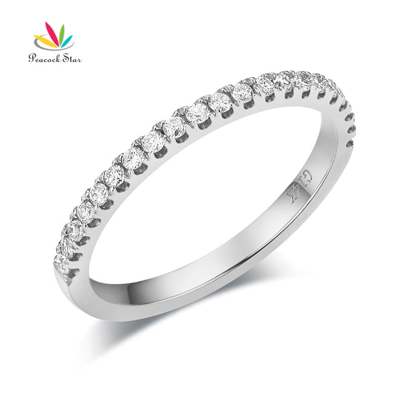 Treasure Jewelry® 14K White Gold Stackable Wedding Bands Half Eternity Natural Diamond
