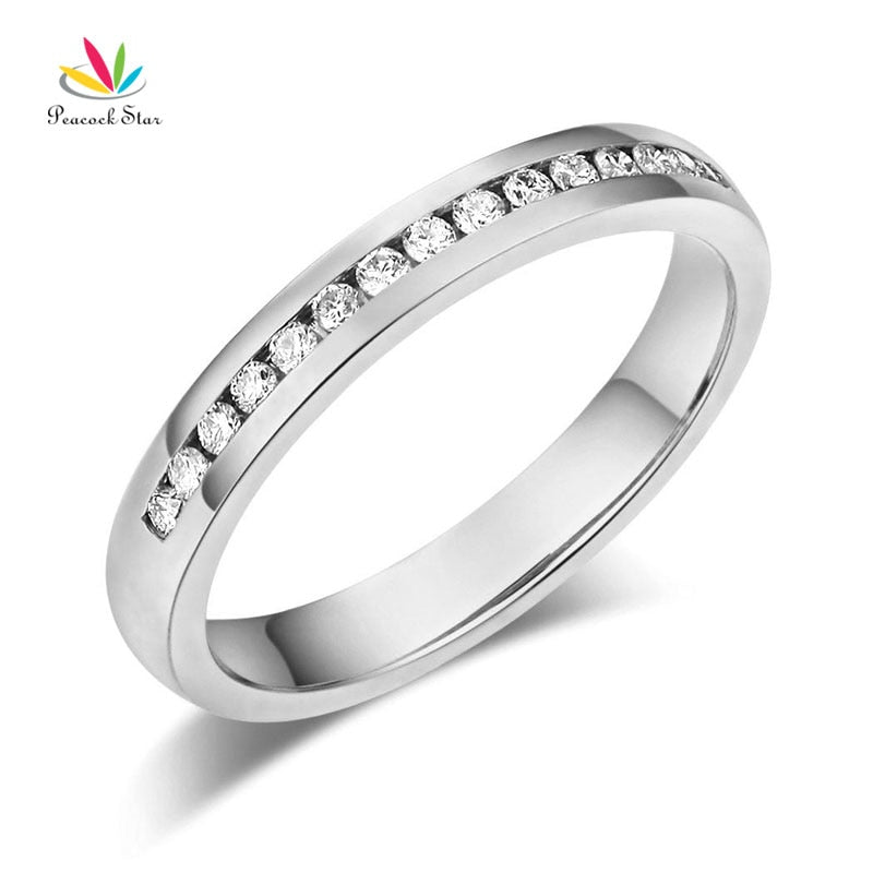 Treasure Jewelry® Peacock Star 14K Solid White Gold Wedding Eternity Ring 0.17 Ct Diamonds