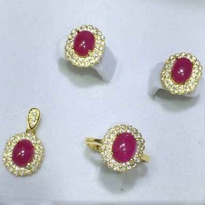 Treasure Jewelry® Fashion Jewelry_A Red Stone Ring+Pendant+Earring Jewelry Set_925 Solid Sliver