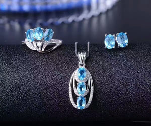 Treasure Jewelry® Blue Stone Fashion Jewelry Set_Finger Rings_S925 Solid Sliver Blue Stone Jewelry Set