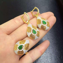 Treasure Jewelry® Fashion Jewelry_Colombia Green Stone Elegant Jewelry Set_S925 Solid Silver Earrings