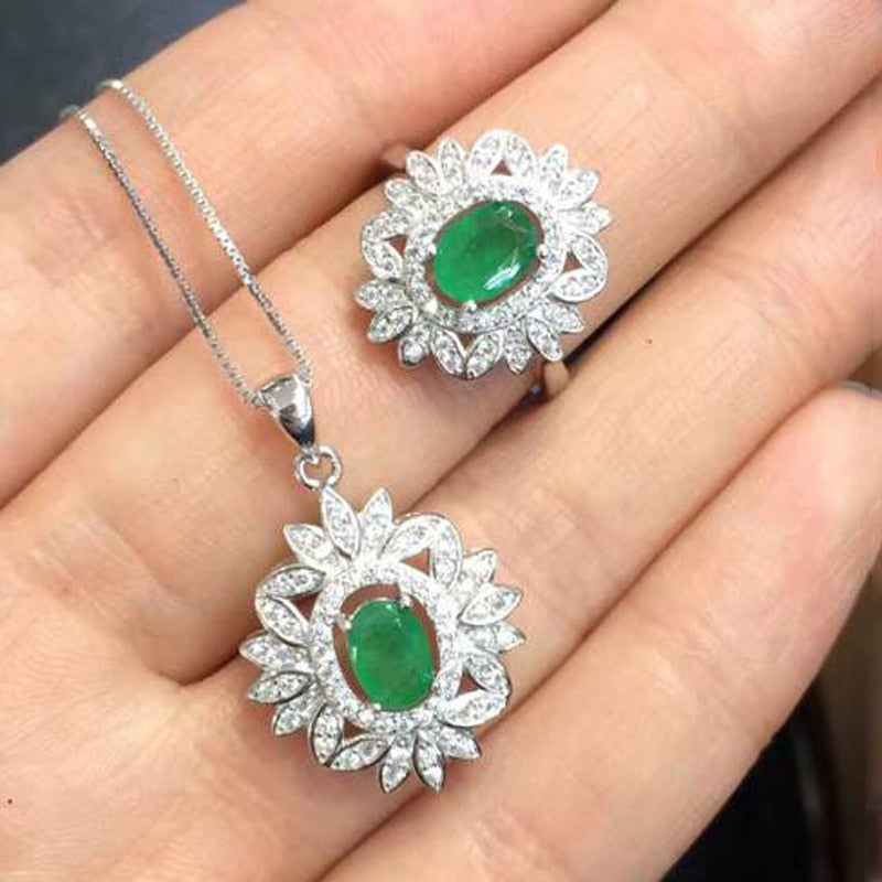 Treasure Jewelry® Fine Jewelry_Colombia Green Stone Flower Jewelry Set_S925 Solid Silver Pendant
