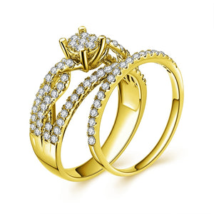 Treasure Jewelry® 14K Solid Yellow Gold Bridal Ring Set 4 Prongs Braided Band Round SONA Diamond Ring Set Engagement rings Wedding Ring Jewelry