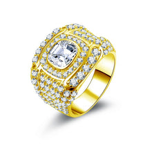 Treasure Jewelry® Luxury 14K Solid Yellow Gold Halo Ring for Men Rows Drill Wide Band Cushion Cut CZ Engagement Wedding Male Ring Jewelry