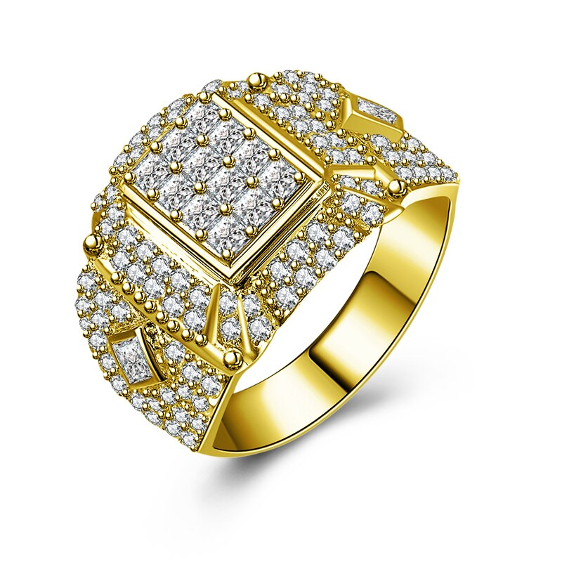 Treasure Jewelry® 14K Solid Yellow Gold Wedding Band Cluster Ring Geometric Pattern Luxury Wedding Engagement Jewelry Real Gold Men Ring