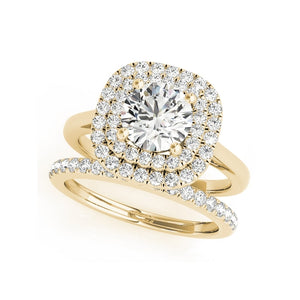 Treasure Jewelry® Solid 14K Yellow Gold Double Halo Engagement Rings Sets 1ct Round Cut Simulated Diamond Bridal Jewelry Wedding Ring For Women