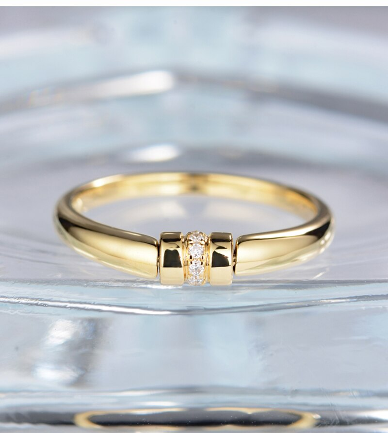 Treasure Jewelry® Certificate Diamond Wedding Band For Women 18K Solid Yellow Gold Wedding Engagement Ring Rotation Design Diamond Jewelry