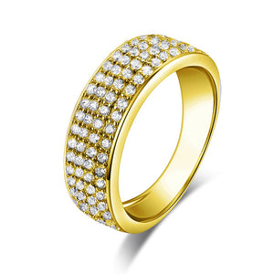 Treasure Jewelry® Real 14K Gold TRIO Ring Set Engagement Jewelry 14K Yellow Gold Couple Wedding Ring Pave Setting Band Cluster Ring Set