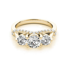 Treasure Jewelry® Woman Three Stone 14K Engagement Ring Classic Real 14k Yellow gold Round Cut Simulated Diamond Wedding Ring