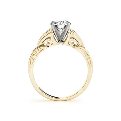 Treasure Jewelry® 14k Yellow gold Wedding Solitaire Rings for Women 1 Carat Round cut Simulated Diamond Engagement Ring