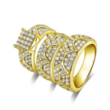 Treasure Jewelry® Real Solid Gold TRIO Ring Set Engagement Jewelry 14K Yellow Gold Couple Wedding Ring Fine Vintage Pattern Cluster Rings