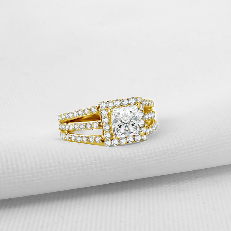 Treasure Jewelry® 14K Solid Yellow Gold Multi Row Band Rings Princess Cut Sona Simulated Diamond Halo Wedding Engagement Rings For Women