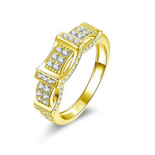 Treasure Jewelry® Luxury Gold Unisex Band 14K Solid Yellow Gold Rows Drill Sona Simulated Diamond Trendy Wedding Engagement Ring