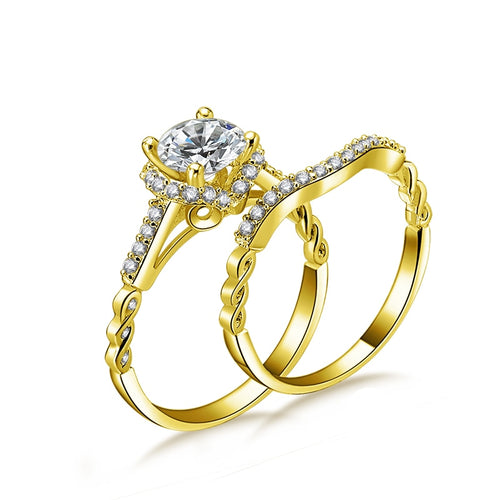 Treasure Jewelry®14K Solid Yellow Gold Halo Ring Set 4 Prongs 1ct Round Cut Engagement rings Wedding Woman