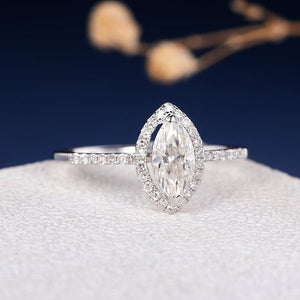 Treasure Jewelry® Solid 0.6ct Unique Marquise Cut DF Color Moissanite Engagement Ring Antique 18K White Gold Wedding Ring For Women