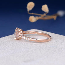 Treasure Jewelry® 18k Rose Gold 1ct 6.5mm Moissanite Engagement Ring Lab Grown Women Ring Wedding Anniversary Her Gift Personal