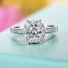 Treasure Jewelry® Engagement Ring Jewelry For Women Lab Grown Diamond Solid 18K Au750 White Gold 1ct 6.5mm Round Cut Moissanite Halo Ring