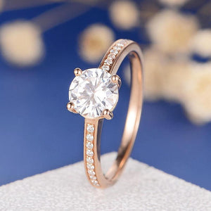 Treasure Jewelry® Solid 18K Rose Gold 1ct DF Color Round Cut Moissanite 4 Prong Ring Lab Diamond Wedding Engagement Ring For Women