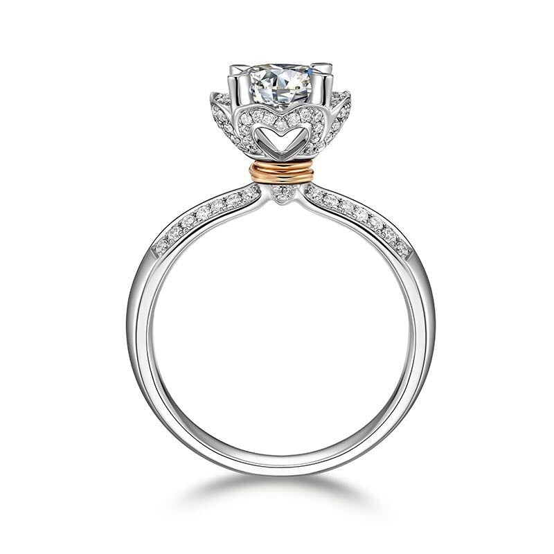 Treasure Jewelry® Solid 18K Au750 Engagement Ring Fine Gold For Women Lab Grown Diamond White Gold 1ct 6.5mm Round Cut Moissanite Halo Ring