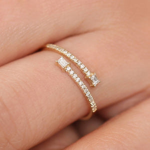 0.24ctw Double Baguette Bypass Ring Two Stone Diamond Ring with Round Cut Diamond 14K Solid Gold Real Fine Ring For Women