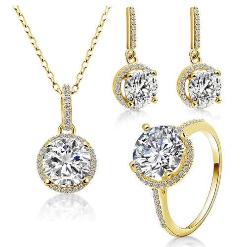 Treasure Jewelry® 2.5 ct Round Zirconia Ring Set Gold jewelry 14K Solid Yellow Gold Halo Ring Engagement Wedding Lovers Jewelry Sets Gift