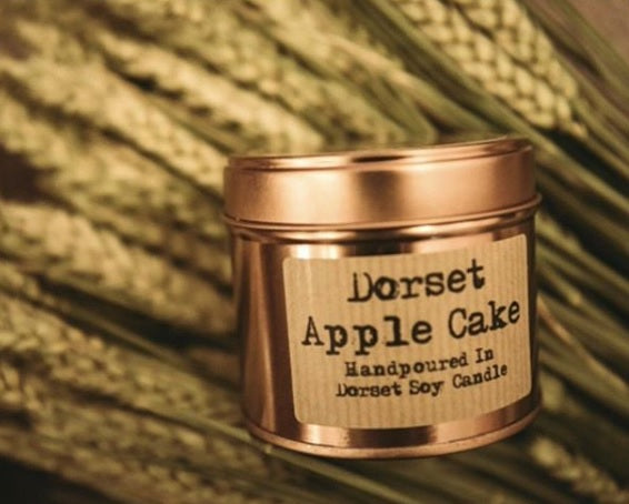 Dorset Apple Cake - The Rhubarb Candle Company Soy Candle in  copper or silver Tin, Vegan, Cruelty free product. All the labels are vegan friendly. Long lasting candle made in our countryside kitchen in Dorset. Made in small batches and fully CLP compliant. Candles weight is approximately 200g and has a minimum burn time of 36 hours. Made by The Rhubarb Candle Company