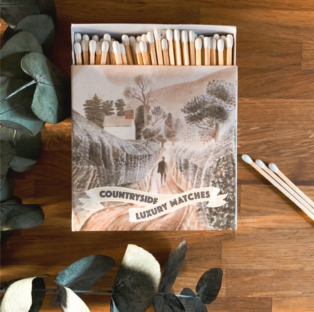 Luxury Large Boxed Matches Countryside Design