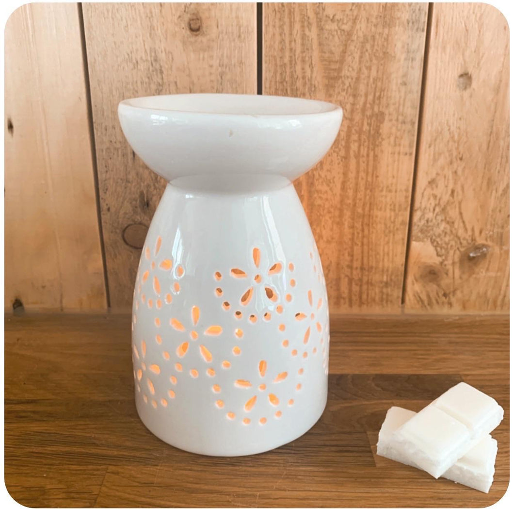 White Ceramic Flower Wax Melt Burner