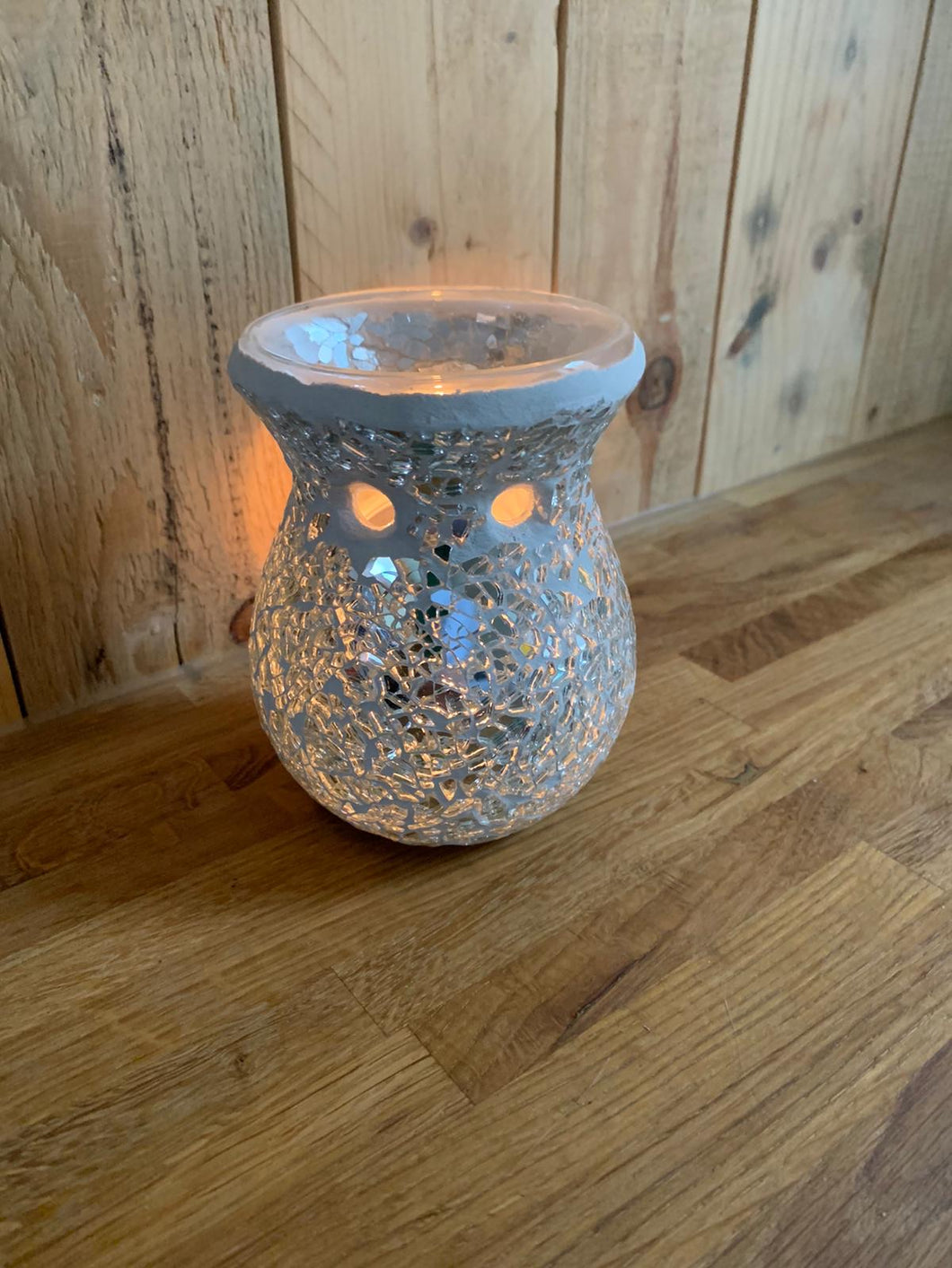 Silver Crackle Round  Wax Melt Burner
