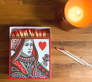 Luxury Large Boxed Matches King & Queen Of Hearts Design